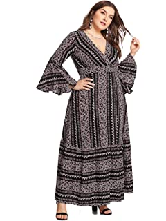 5716a6be5d Milumia Plus Size Party Dress Flounce Flared Long Sleeves Maxi Dress  Evening Night Out Dress