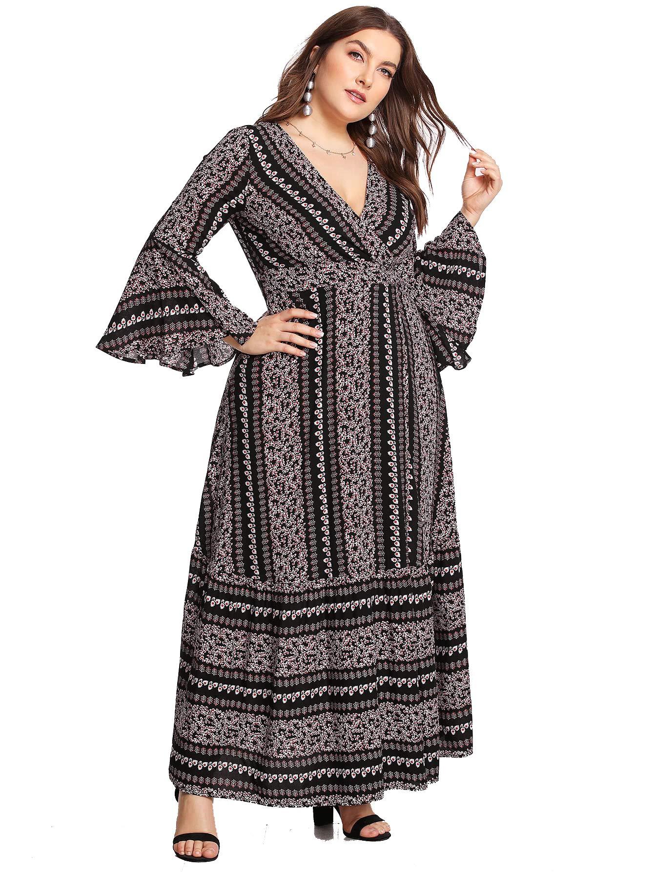 49e6a28de12 Milumia Women Plus Size Maxi Prom Cocktail Wrap V Neck Tribal Dress Black 0X