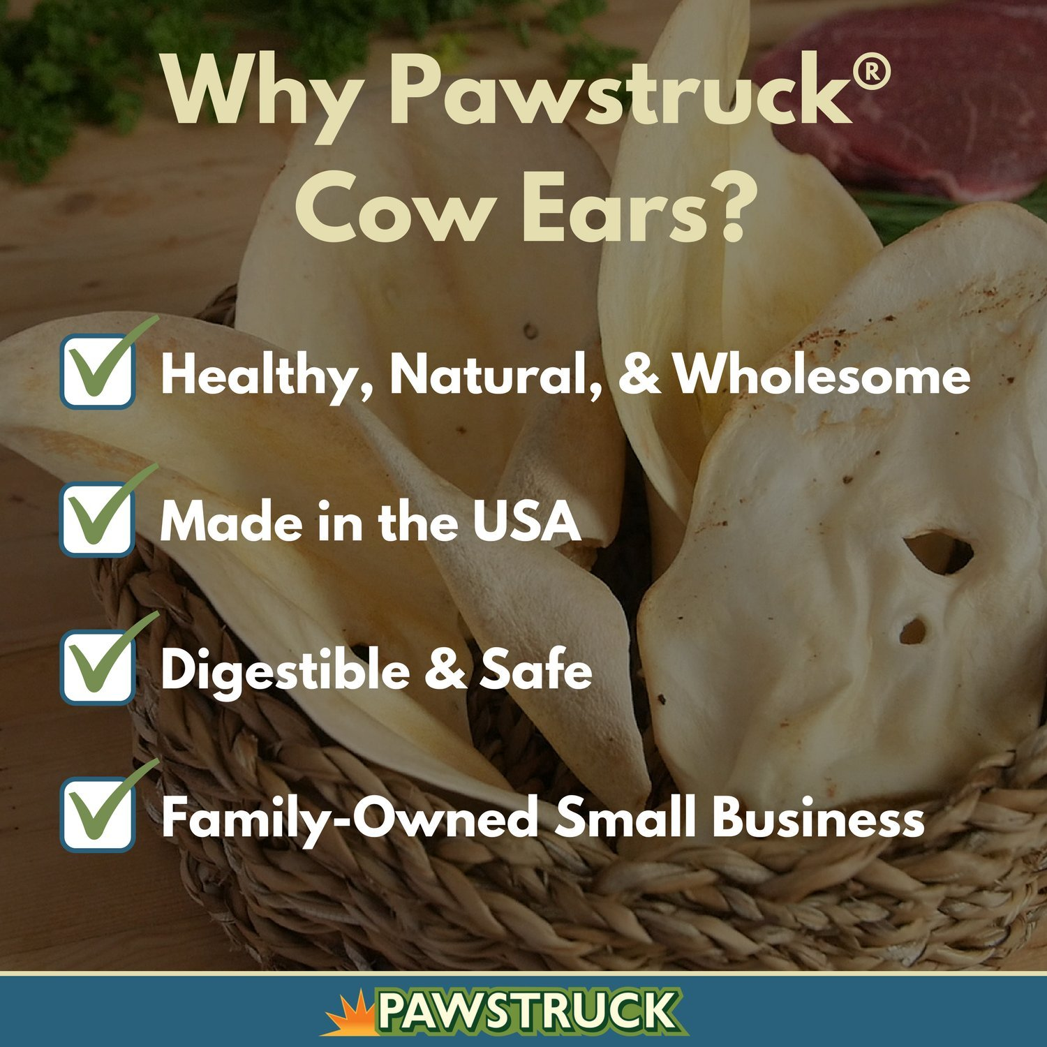 Cow Ears for Dogs (100 Pack) - Healthy Bulk Dog Dental Treats & Natural Beef Chews Made in USA, American Made
