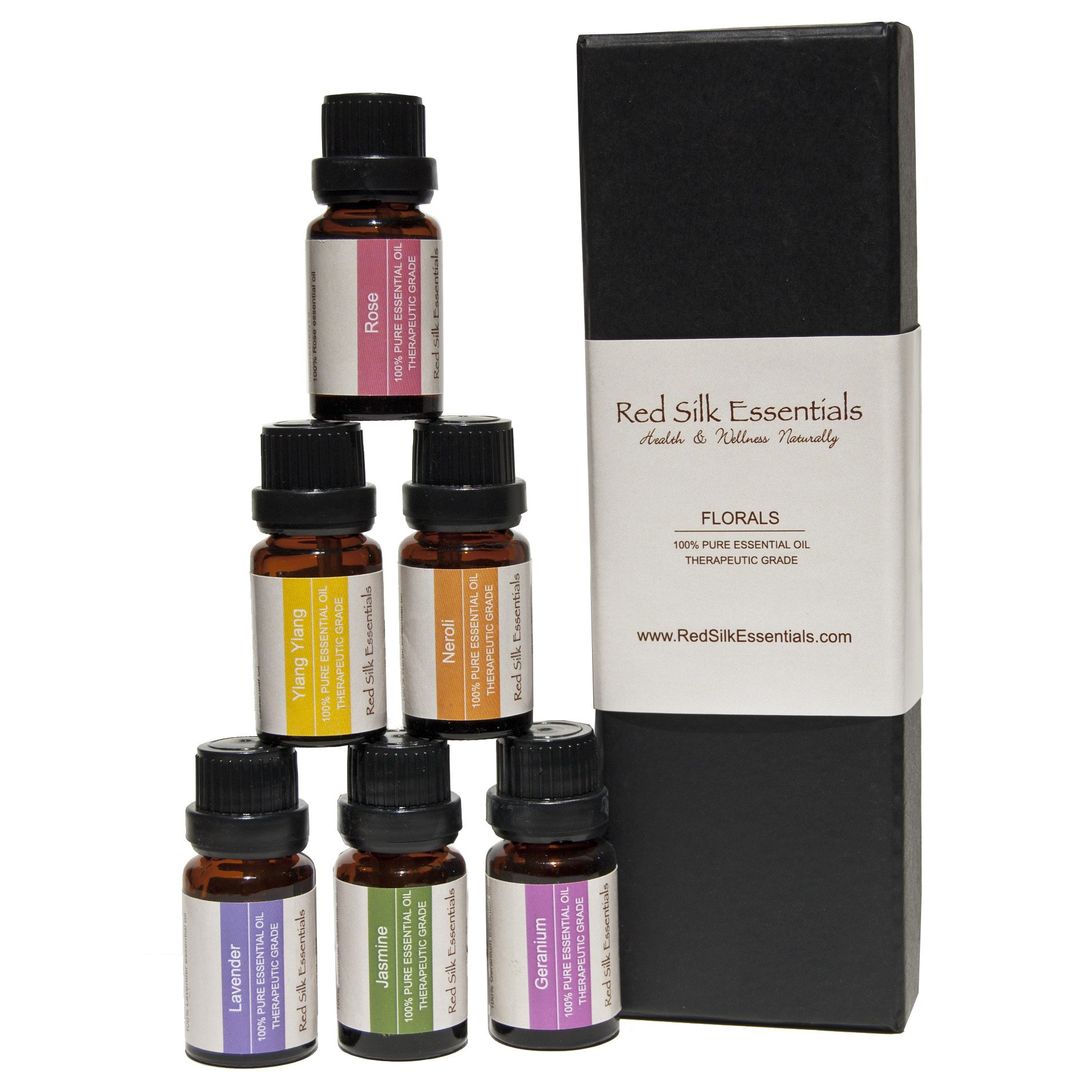 100% Pure Undiluted Essential Oils Set - Top 6 Florals