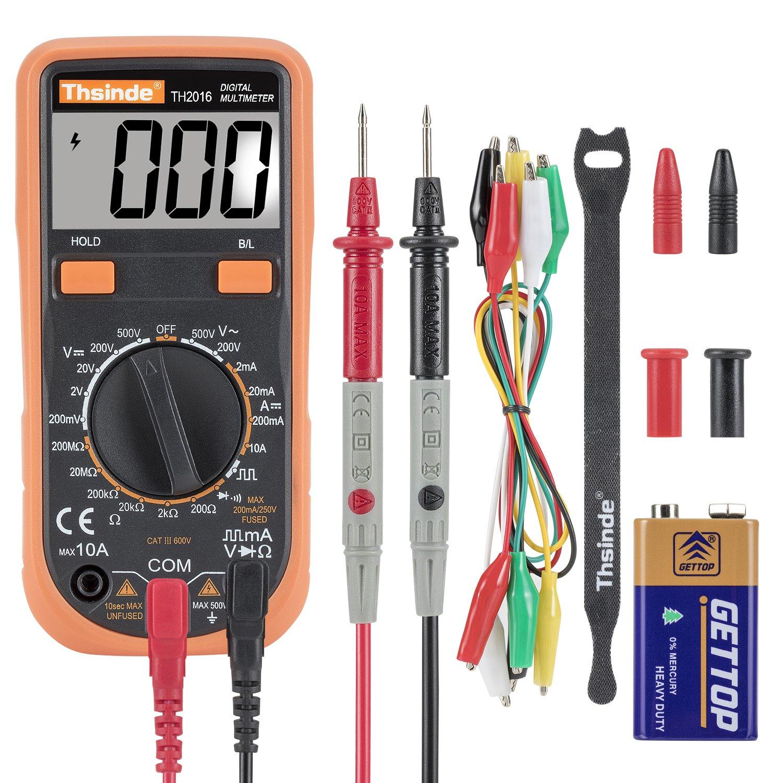 DC Strom Widerstand Akustischer Durchgangspr/üfer mit LCD Hintergrundbeleuchtung Digital Multimeter Krokodilklemme Voltmeter Amperemeter Ohmmeter AC//DC Spannung Transistor Dioden