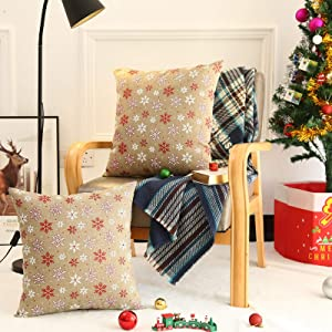 """Tosewever Set of 2 Christmas Linen Throw Pillow Covers 18 x 18 Inches, Xmas Holiday Square Throw Pillows Case for Sofa Couch Bed Outdoor Home Decorations (18"""" x 18"""", Red/White Snowflake)"""