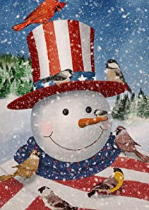 Furiaz Winter Snowman Garden Flag Cardinal Birds,Home Decorative House Yard Small Flag American Patriotic Decor Sign Double Sided, USA Christmas Outdoor Welcome Decorations Seasonal Outside Flag 12x18