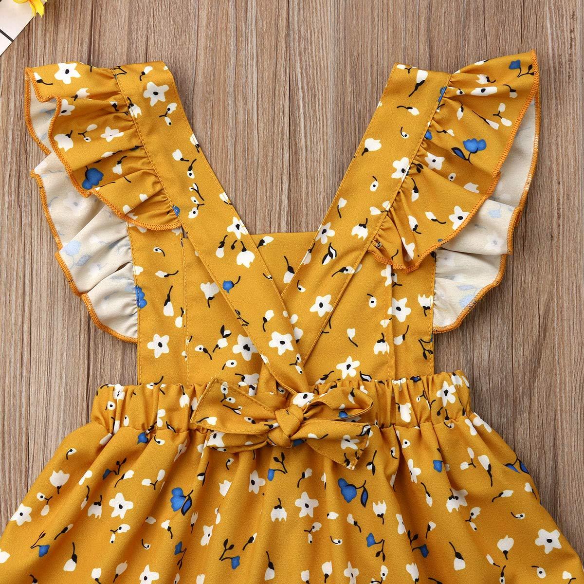 Infant Toddler Baby Girl Sleeveless Dress Summer Backless Floral Pleated Flounced Sundress