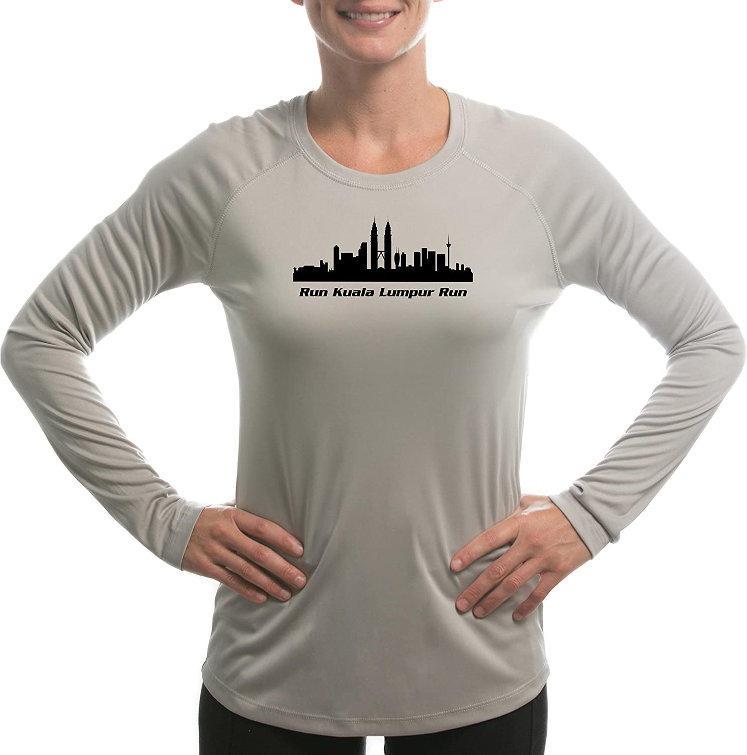 Split Time Womens Kuala Lumpur UPF Long Sleeve Running T-Shirt Medium Athletic Grey