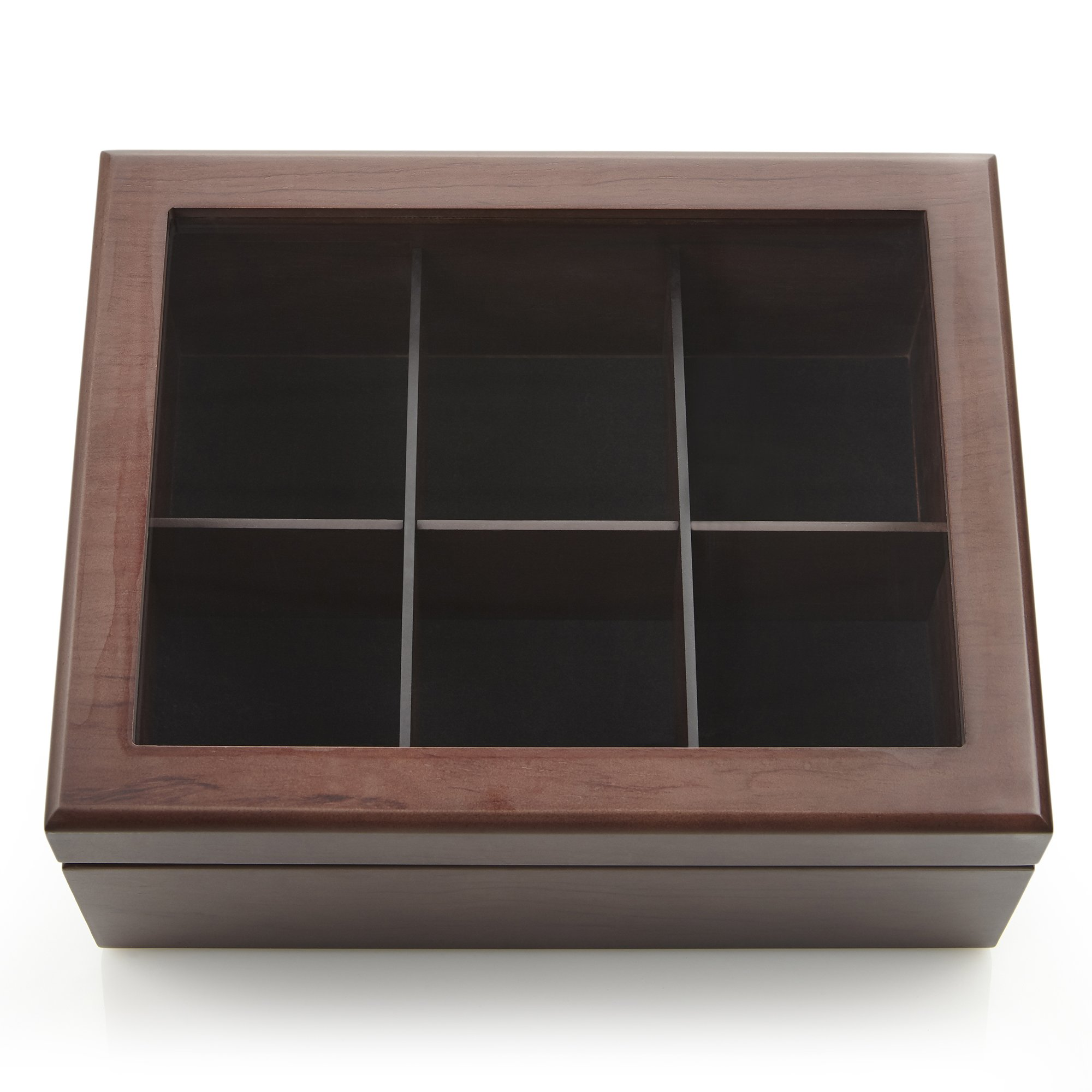 Apace Living Tea Box - Luxury Wooden Tea Storage Chest - 6 Adjustable Compartment Tea Bags Organizer Container - Elegantly Handmade w/Scratch Resistant Window