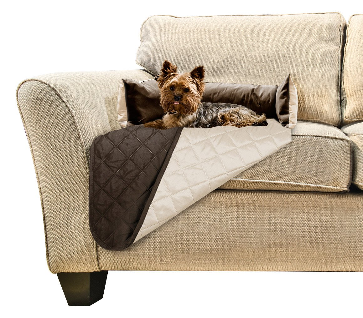 Furhaven Pet Furniture Cover   Sofa Buddy Reversible Furniture Cover Protector Pet Bed for Dogs & Cats, Espresso/Clay, Small