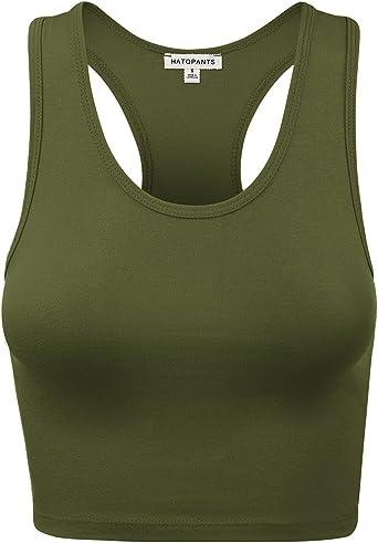 HATOPANTS Womens Cotton Racerback Basic Crop Tank Tops