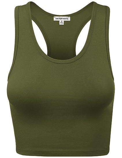 57d5a8774c2d2d HATOPANTS Women s Cotton Racerback Basic Crop Tank Tops at Amazon ...