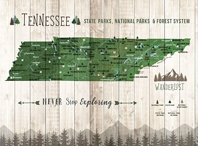 State Parks Tennessee Map.Amazon Com Tennessee State Parks State Parks Of Tennessee Push