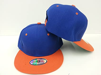 Image Unavailable. Image not available for. Color  New Premium Plain  Snapback Baseball Caps Two Tone Royal Blue Orange Bill 8bb90f66a624
