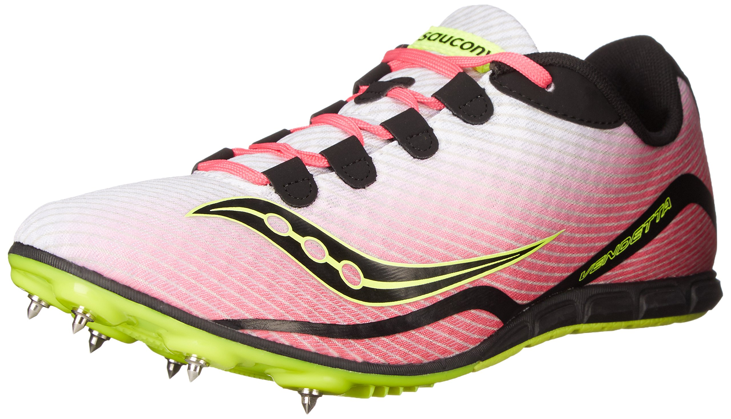 Saucony Women's Vendetta Spike Shoe, White/Pink, 6.5 M US by Saucony