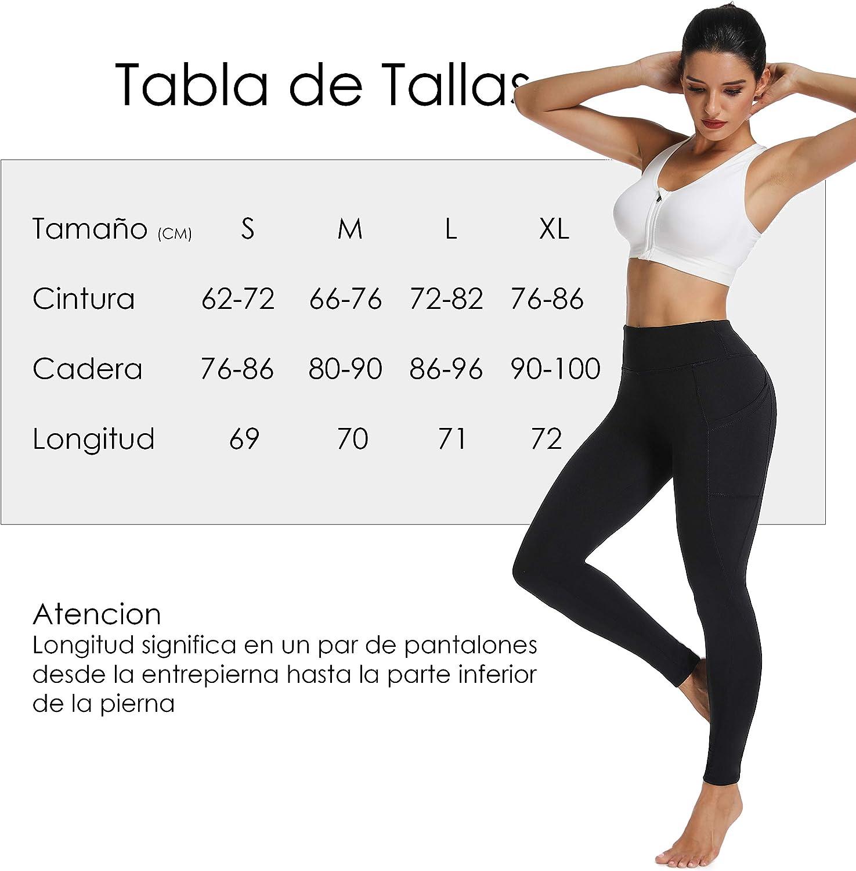 FITTOO Mallas Leggings Mujer Pantalones Deportivos Yoga Alta Cintura El/ásticos y Transpirables #2 Largo-Negro M