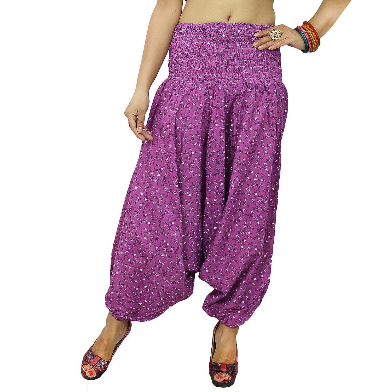 Lila Bauchtanz-Hosen elastische Hosen Strand Harem Pyjamas Floral One GRÖSSE