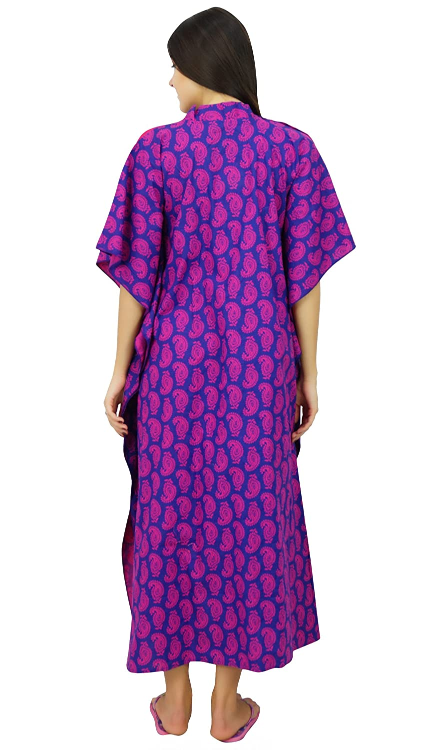 Bimba Hospital Delivery Cotton Kaftan Printed Nursing Gown Front & Side Buttons Maxi Caftan