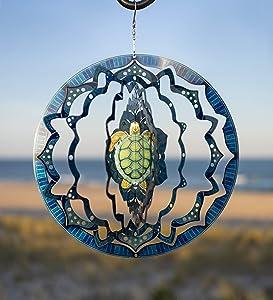 VP Home Mandala Turtle Kinetic 3D Metal Outdoor Garden Decor Wind Spinner