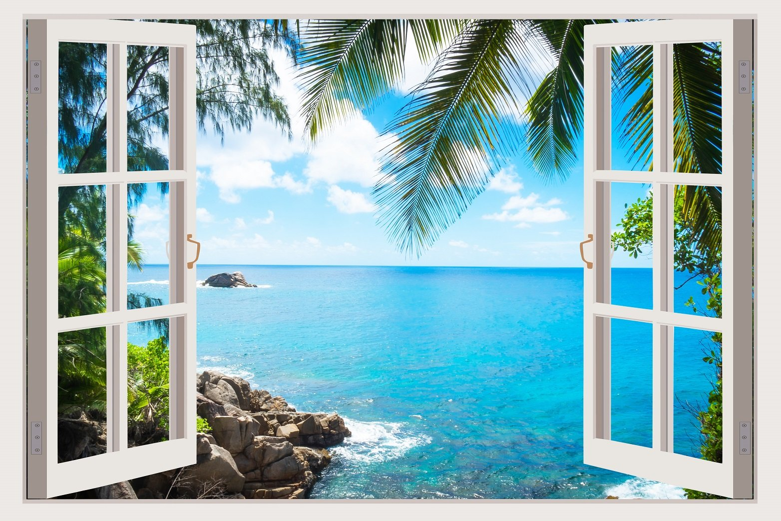 3D Removable Vinyl Wall Mural Stickers By Mi Alma Window Frame Design – Wide Variety Of Realistic Views – Easy To Apply Peel & Stick – Incomparably Durable Wall Decals (33.5x45 Inch, Palm Tree View)