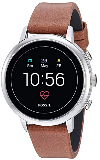 Fossil Womens Gen 4 Venture HR Heart Rate Stainless Steel and Leather Touchscreen Smartwatch, Color: Silver, Brown (Model: FTW6014)