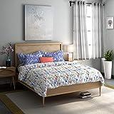 Dreamline Misty Morning Lavender Floral Double Bedsheet with 2 Pillow Cover Set (DSN-08)