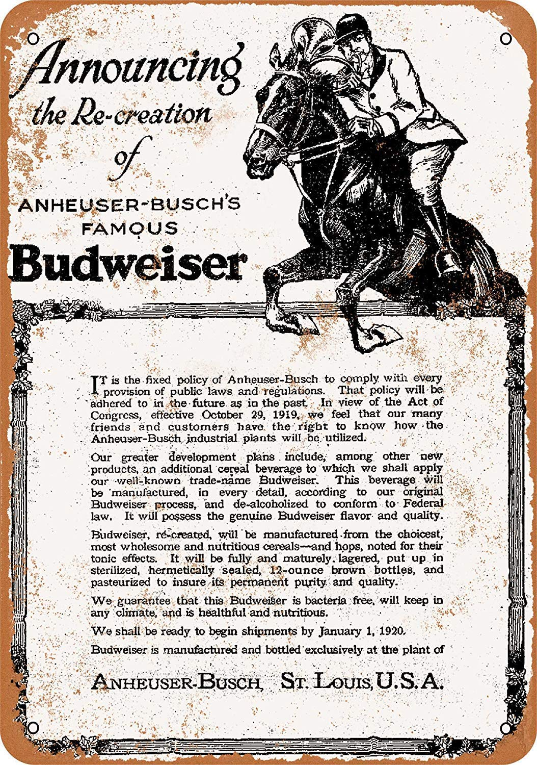 Kia Haop 1919 Budweiser and Prohibition Metal Fender Cartel ...