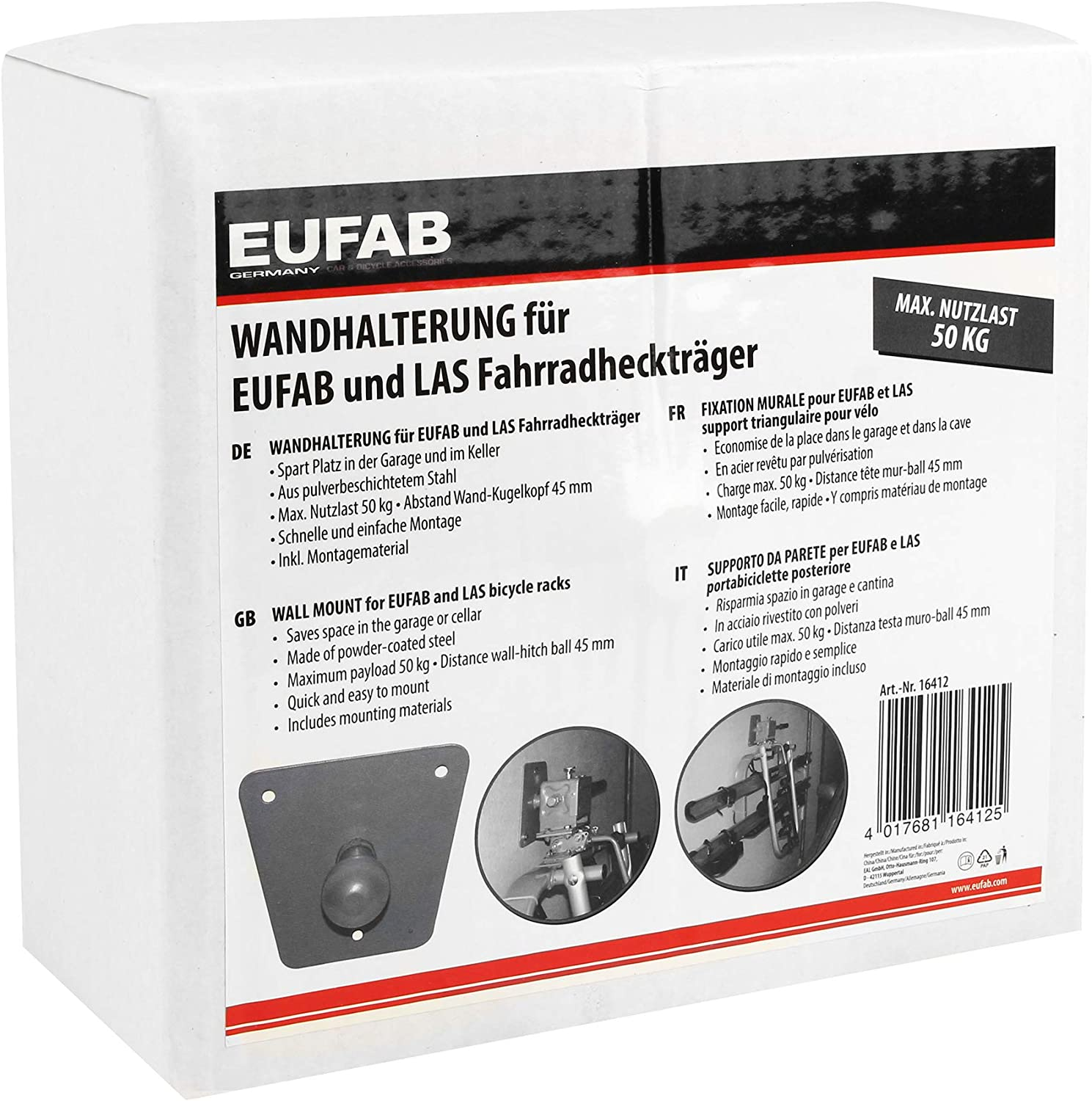 EUFAB 16412 Wall Bracket for Bicycle Carriers