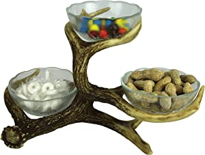 River's Edge Products Three Bowl Deer Antler Candy Dish Stand, Decorative Party Serveware
