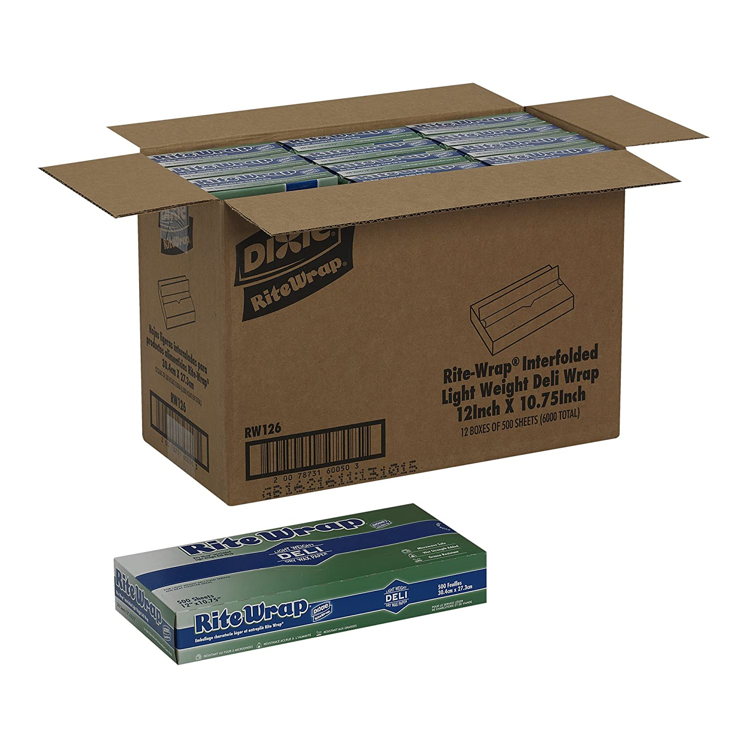 RW66 White Georgia-Pacific Light-Weight Interfolded Dry Wax Deli Paper 6 Width x 10.75 Length by GP PRO Case of 12 Boxes, 500 Sheets Per Box DIXIE Rite-Wrap