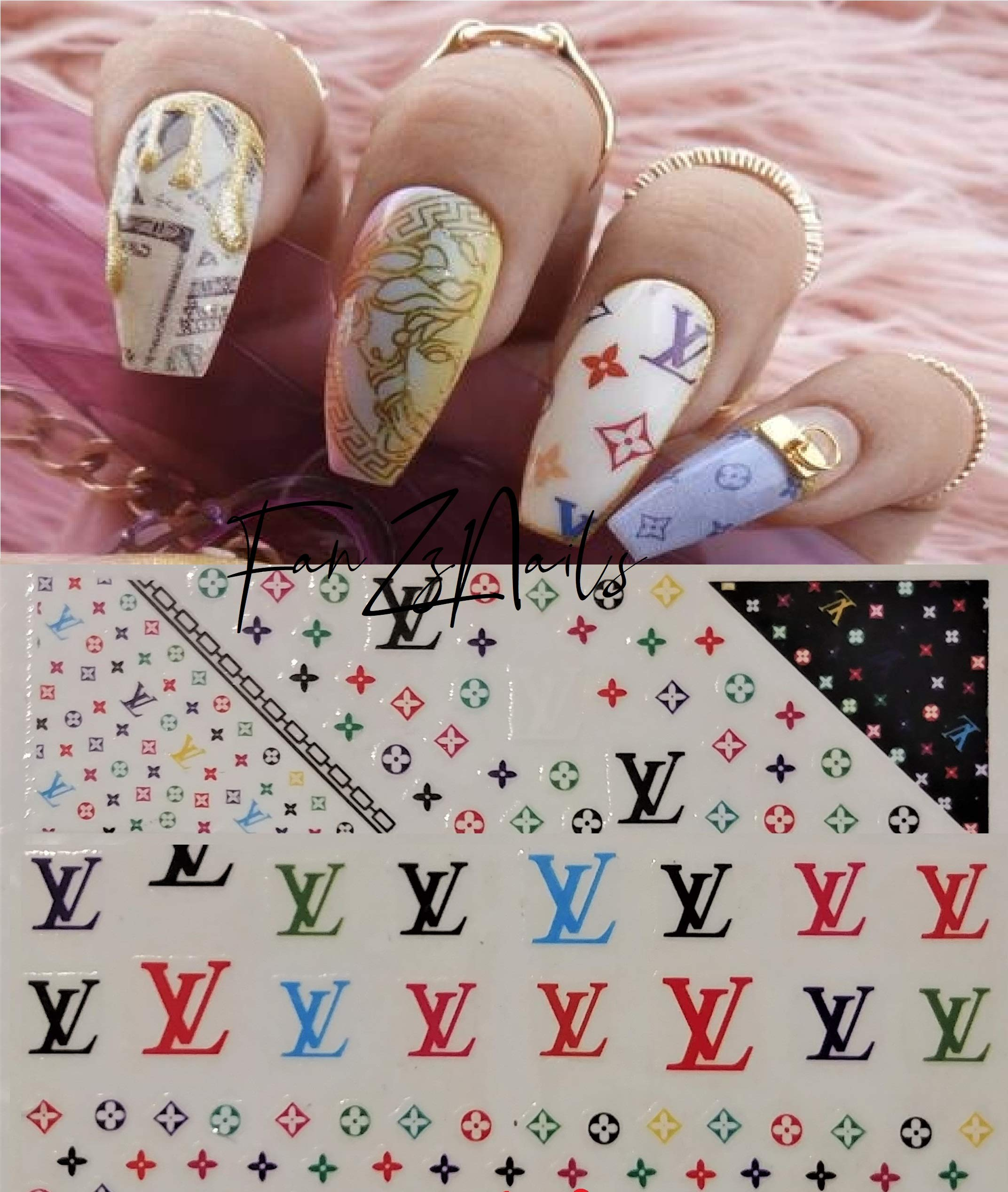 Go4Nails 2019 LV Inspired Colorful Nail Art Stickers Self Adhesive Decals DIY by Go4Nails