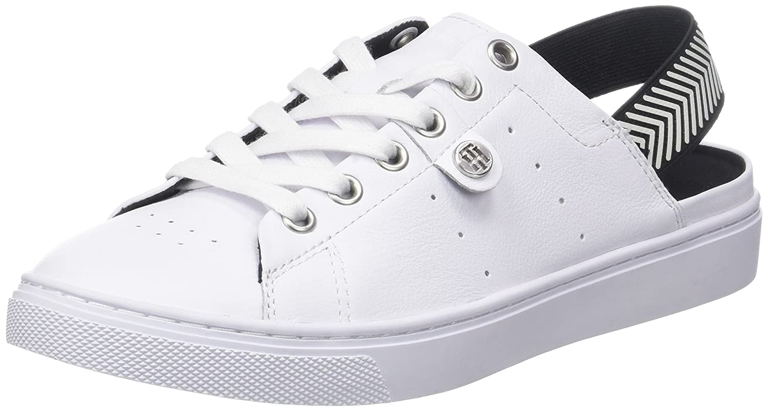 Tommy Hilfiger Open Back Leather Sneaker, Zapatillas para Mujer 40 EU|Blanco (White 100)