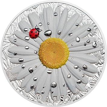 DAISY Margarita Mariquita High Relief Flowers Leaves 2 Oz Moneda ...