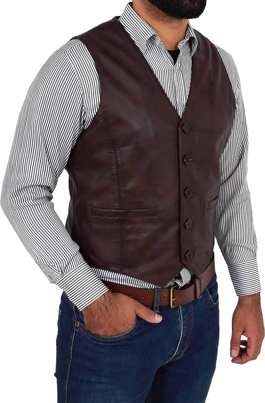 HOL Uomo Pelle Tradizionale Panciotto Bottone Fissaggio Veste Nick Marrone