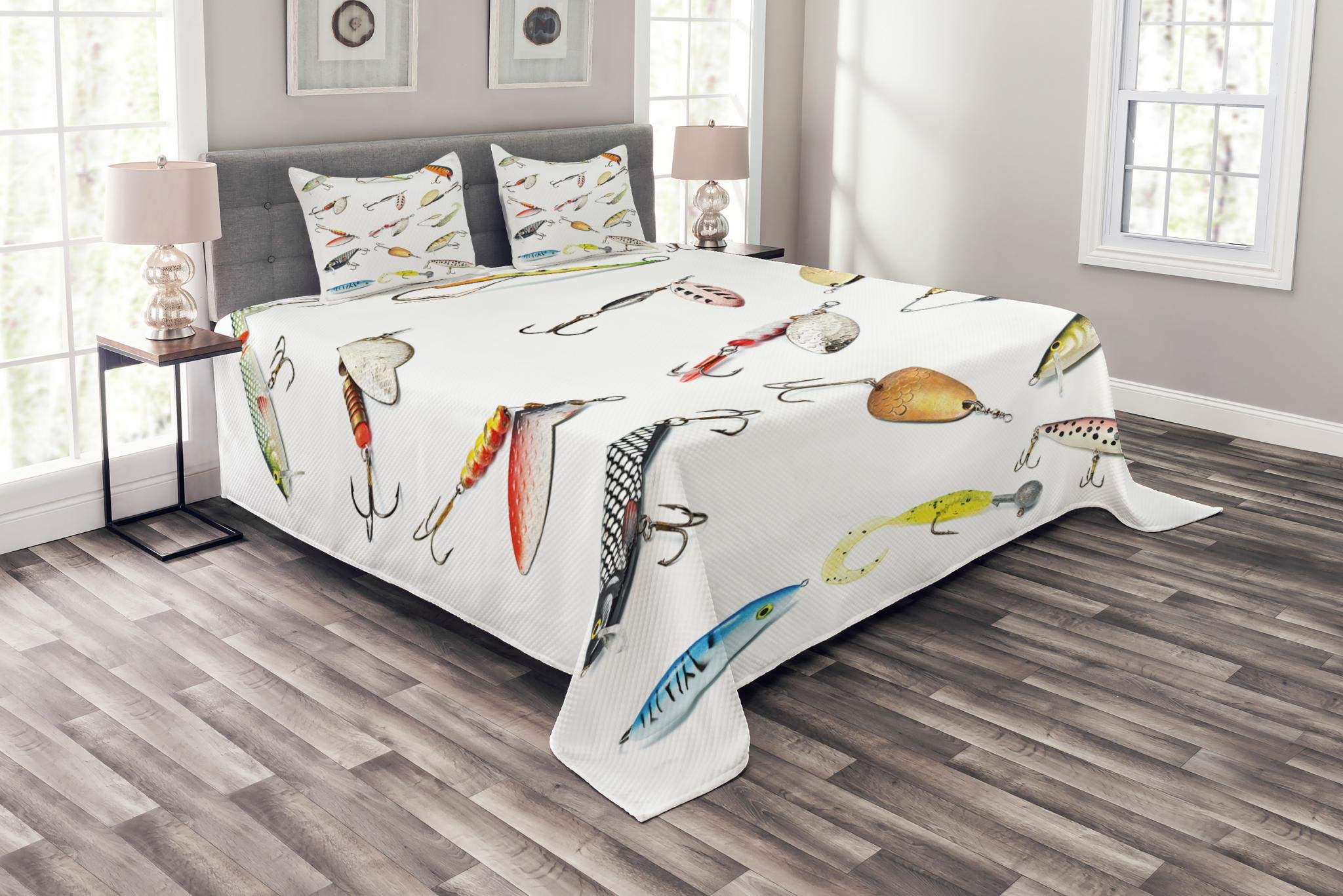 Lunarable Fishing Coverlet Set Queen Size, Cute Hook Set Tool Equipment Hand Gathering Sports Hobby Nautical Theme Artwork, Decorative Quilted 3 Piece Bedspread Set with 2 Pillow Shams, Multicolor