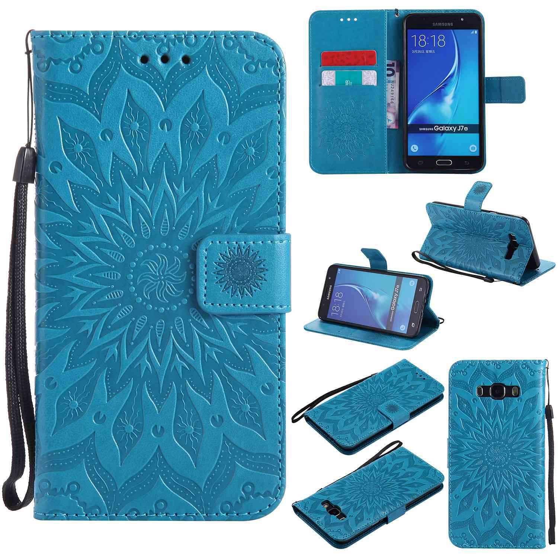 pinlu® Flip Funda de Cuero para Samsung Galaxy J7 (2016) J710 Carcasa con Función de Stent y Ranuras con Patrón de Girasol Cover (Azul)