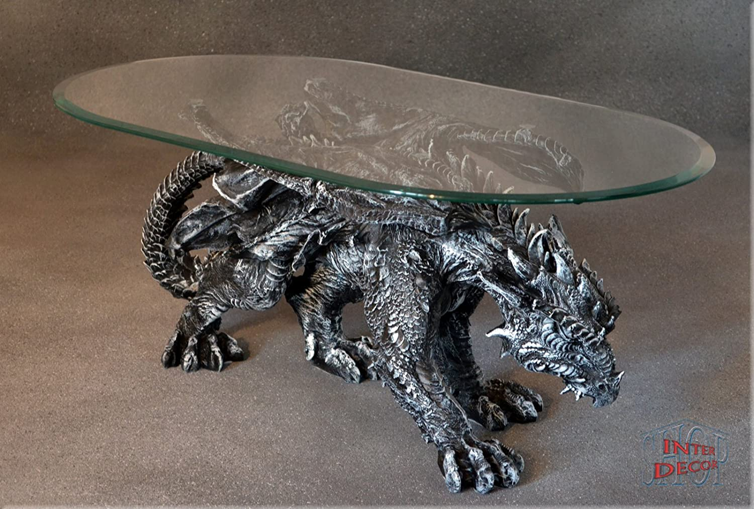 Beau Dragon Gothic Art Deco Designer Coffee Table Glass Coffee Table Living Room  Table: Amazon.co.uk: Kitchen U0026 Home