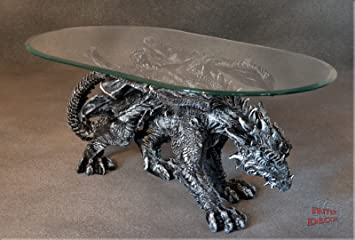 Dragon Gothic Art Deco Designer Coffee Table Glass Coffee Table Living Room Table