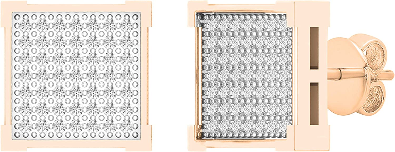 Dazzlingrock Collection 0.25 Carat (ctw) Round White Diamond Square Shape Mens Hip Hop Stud Earring 1/4 CT