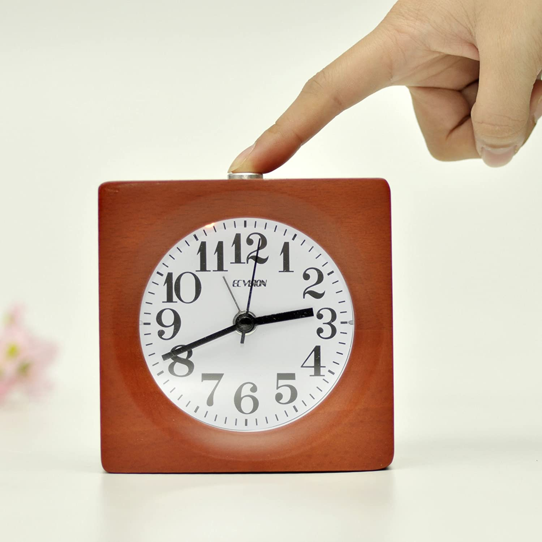 ECVISION Handmade Classic Small Square Silent Table Snooze Zelkova Clock Beech Wood Alarm Clock with nightlight (Elephant)
