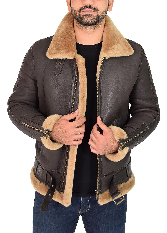 Mens Sheepskin Jacket B3 Flying Leather Aviator Pilot Coat Nathan Brown Ginger at Amazon Mens Clothing store: