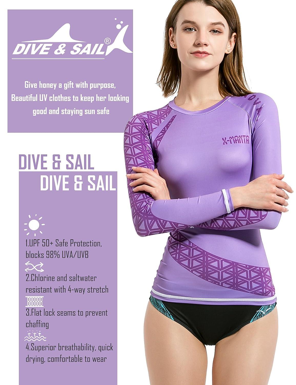 Las mujeres erupción guardia camisas, Dive & Sail UV UPF 50 bloqueador solar camisa manga larga camiseta deportiva de surf de secado rápido camisas - 614CN, ...