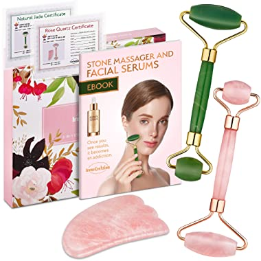 Authentic Jade Roller, Natural Rose Quartz Roller and Gua Sha | 3-In-1 Stone Face Massager Kit