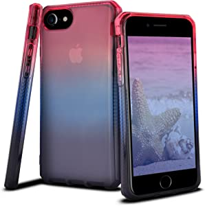 Celljoy Case compatible with Apple iPhone 8, iPhone 7, iPhone 6S, iPhone 6, 4.7'' [[Sunset Gradient TPU]] - Impact Bumper - Transparent - Colorful - Extreme Drop Protection (Pink/Light Blue/Dark Blue)