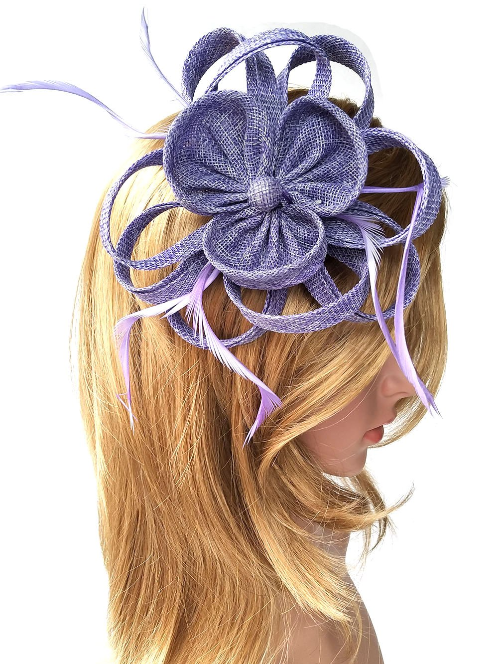 Biruil Women's Fascinator Headband Imitation Sinamay Feather Tea Party Flower Derby (Purple)