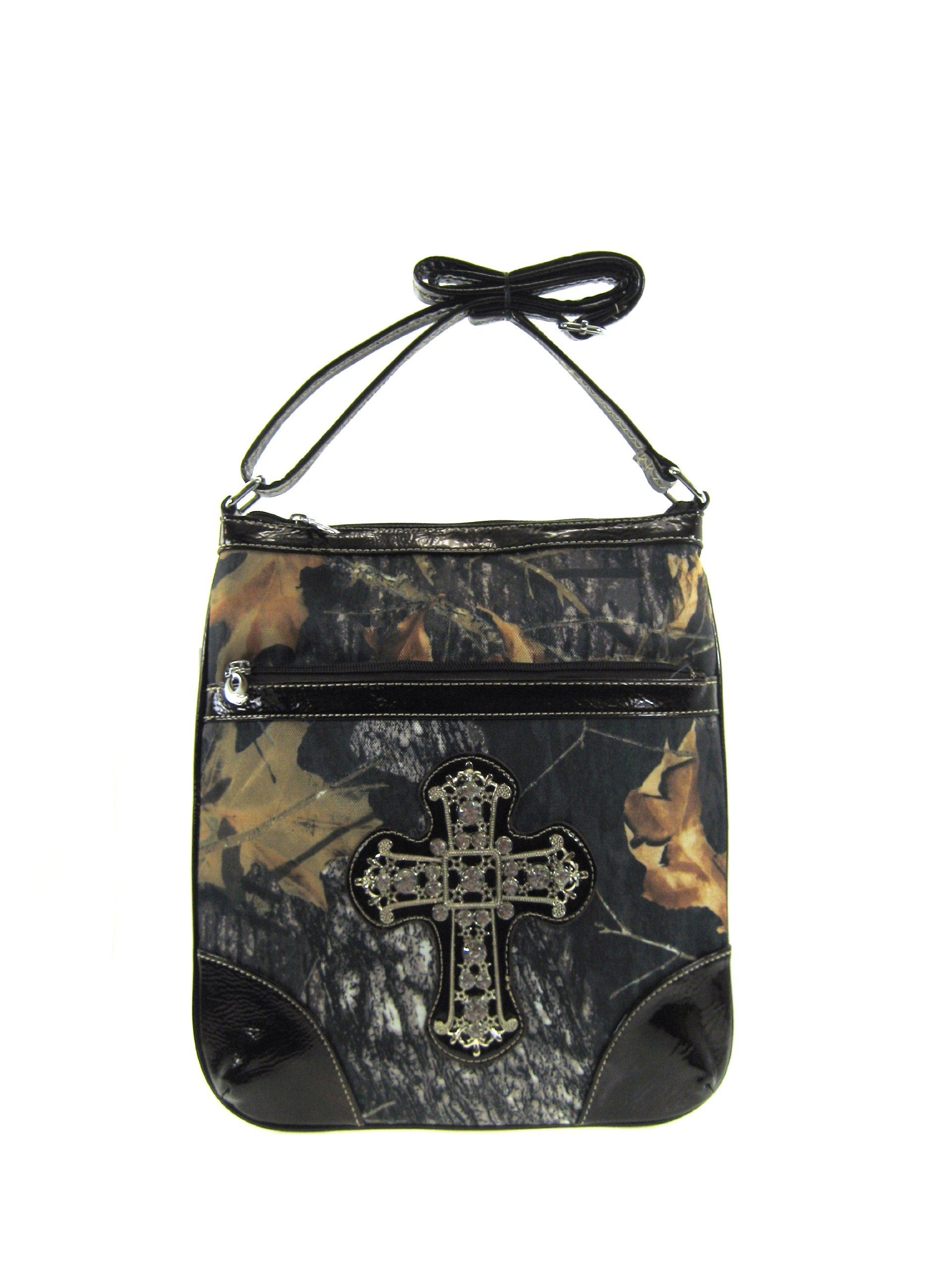 Camo Leaf Rhinestone Cross Hipster Cross Body Messenger Bag Purse (brown)