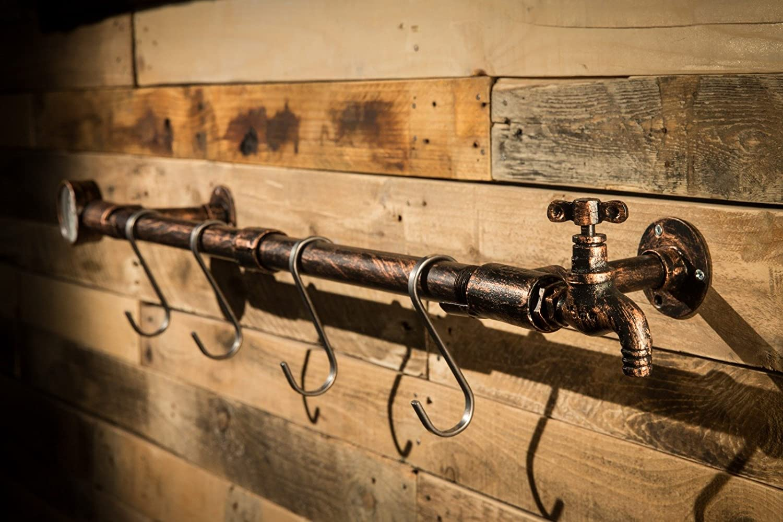 2WAYZ Wall Mounted Wooden Rustic Coat Hanging Rack Decorative Farmhose Design Iron Hooks Hanger.