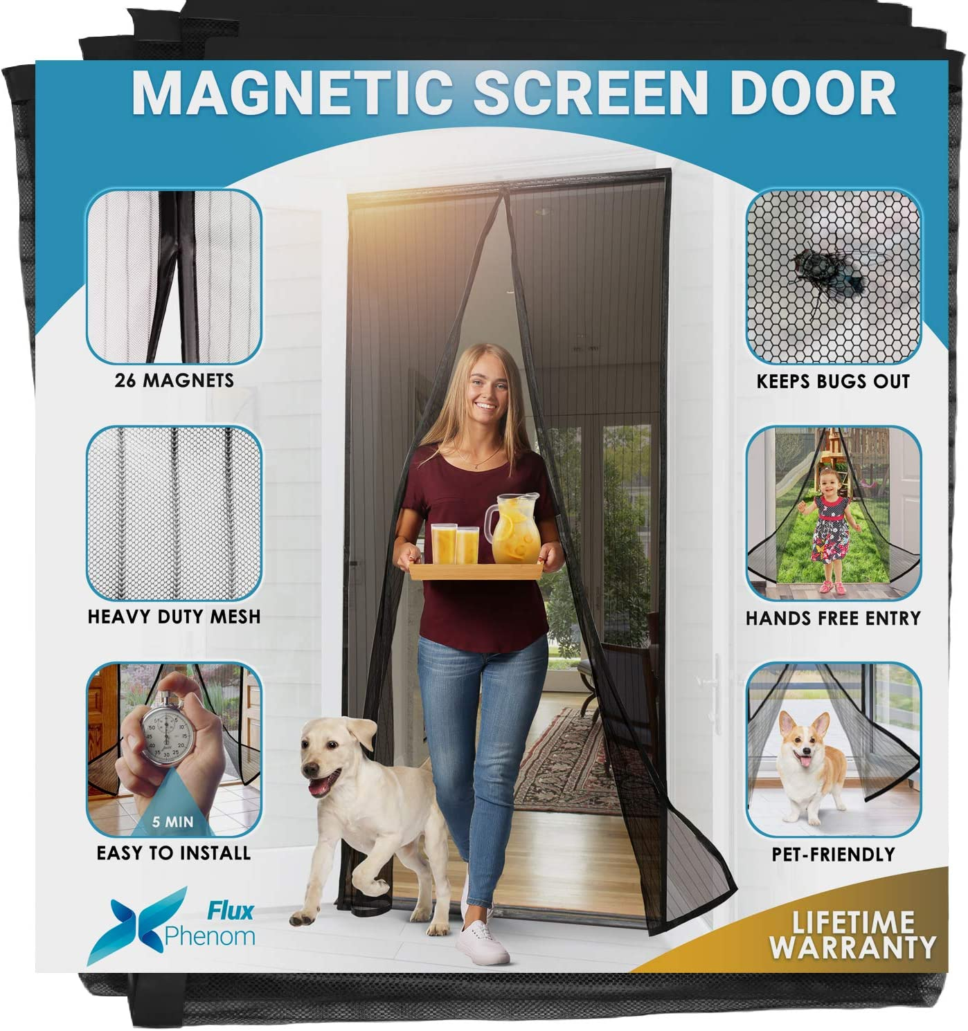 Flux Phenom Reinforced Magnetic Screen Door - Fits Doors up to 38 x 82 Inches (Black) - -