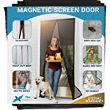 Flux Phenom Reinforced Magnetic Screen Door - Fits Doors up to 38 x 82 Inches - Bug, Fly, and Mosquito Net For Doors…