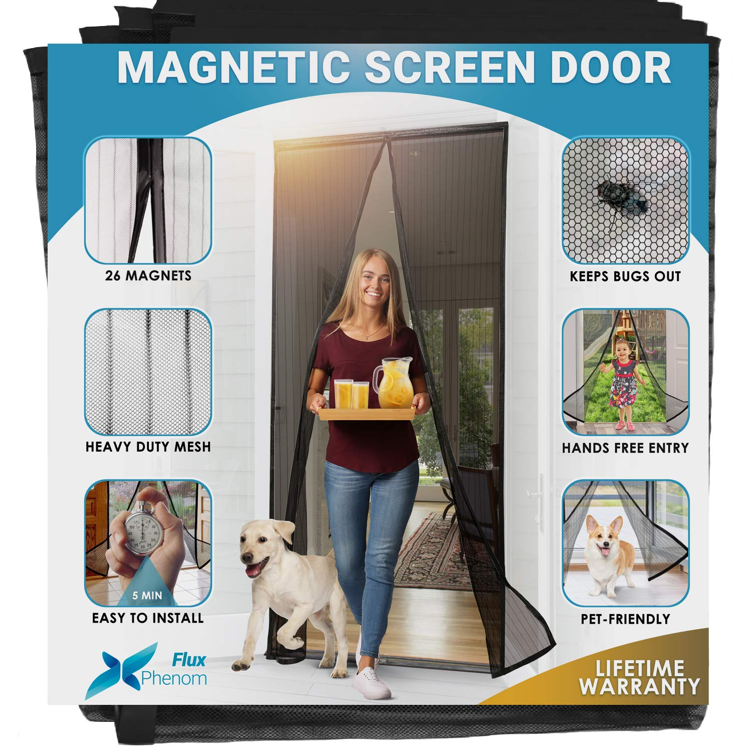 Flux Phenom Reinforced Magnetic Screen Door - Fits Doors up to 38 x 82 Inches (Black) by Flux Phenom