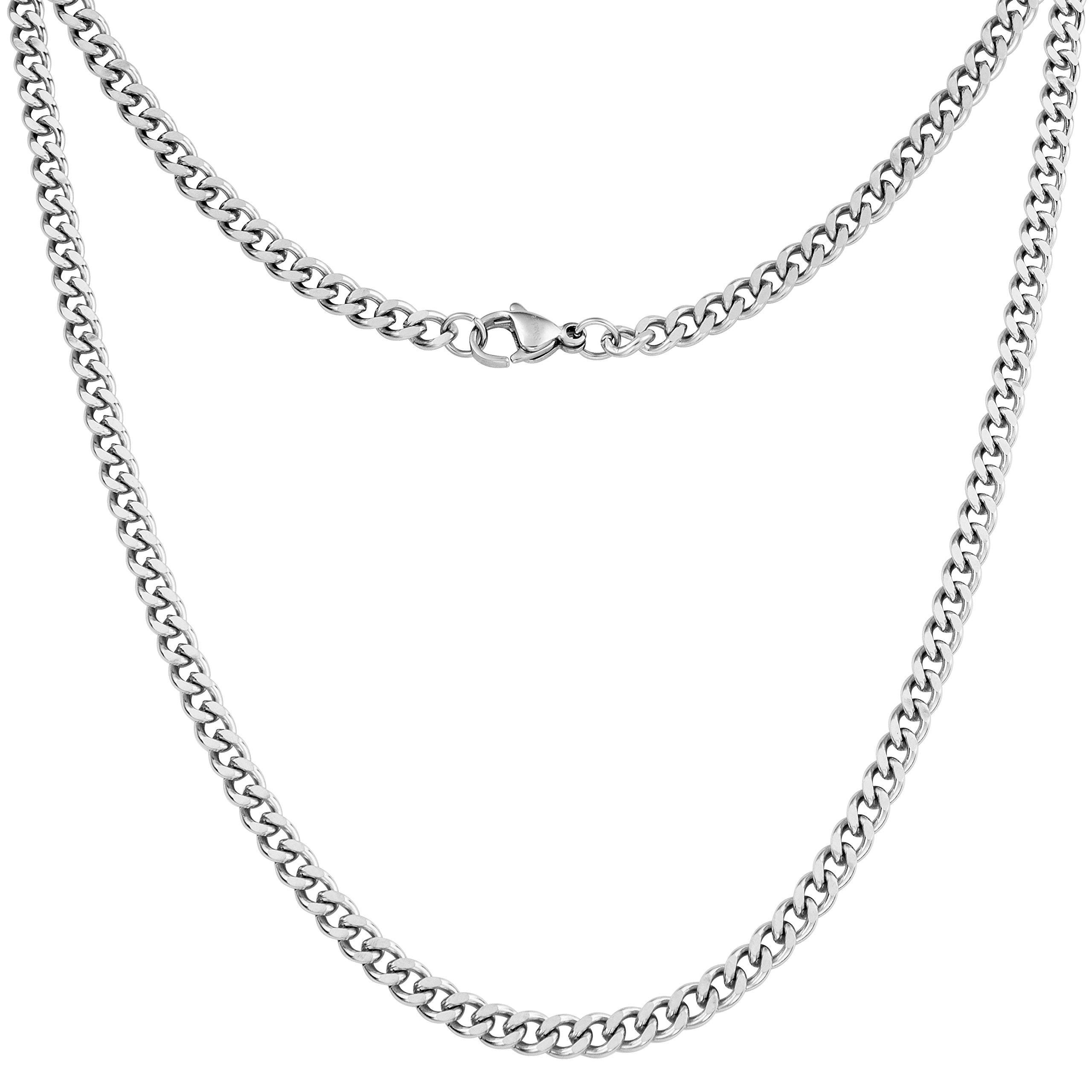 Silvadore 4mm Curb Mens Necklace - Silver Chain Cuban Stainless Steel Jewelry - Neck Link Chains for Men Man Women Boys Male Military - 14 16 18 20 22 24 26 36 inch (18, Cardboard Box)
