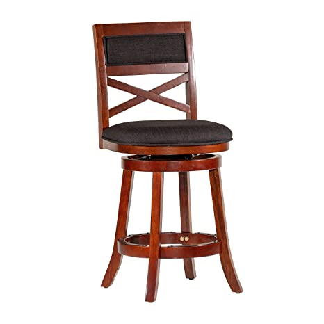 Groovy Dty Indoor Living Meeker X Back Upholstered Swivel Stool 24 Counter Stool Cherry Finish Charcoal Upholstered Seat Ibusinesslaw Wood Chair Design Ideas Ibusinesslaworg