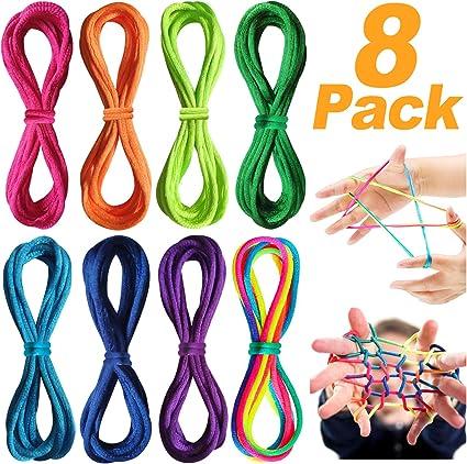 Th-some Corde à Doigts Rainbow Rope 8pcs Cats Cradle Corde Jeu élastique En...